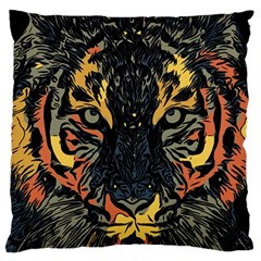 Tiger Predator Abstract Feline Large Cushion Case (two Sides)
