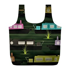 Narrow Boats Scene Pattern Full Print Recycle Bag (l) by Pakrebo