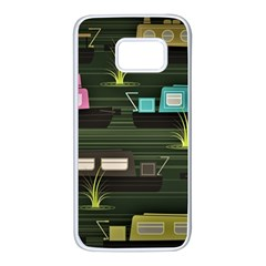 Narrow Boats Scene Pattern Samsung Galaxy S7 White Seamless Case by Pakrebo