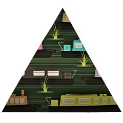 Narrow Boats Scene Pattern Wooden Puzzle Triangle