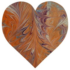 Marbled Paper Mottle Color Movement Wooden Puzzle Heart