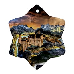 Castle Fantasy Landscape Stormy Snowflake Ornament (two Sides)
