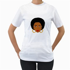 African American Woman With §?urly Hair Women s T Shirt (white) (two Sided) by bumblebamboo
