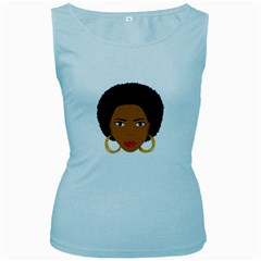 African American Woman With ?urly Hair Women s Baby Blue Tank Top