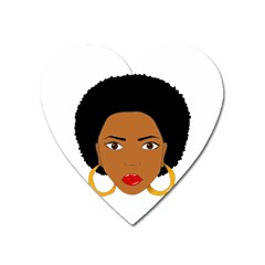 African American Woman With ?urly Hair Heart Magnet by bumblebamboo