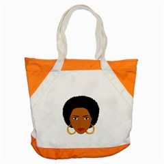 African American Woman With ?urly Hair Accent Tote Bag by bumblebamboo