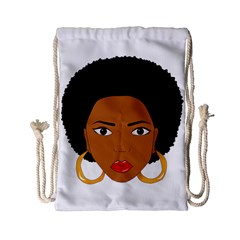 African American Woman With ?urly Hair Drawstring Bag (small)
