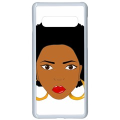 African American Woman With §?urly Hair Samsung Galaxy S10 Seamless Case(white)