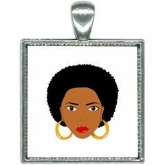 African American Woman With §?urly Hair Square Necklace