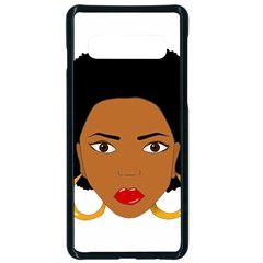 African American Woman With ?urly Hair Samsung Galaxy S10 Seamless Case(black) by bumblebamboo