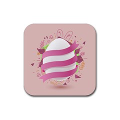 Easter Egg Colorful Spring Color Rubber Coaster (square)  by Pakrebo