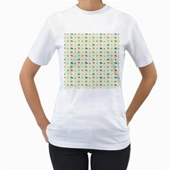 Clouds And Umbrellas Seasons Pattern Women s T-shirt (white) (two Sided) by Pakrebo