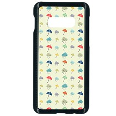 Clouds And Umbrellas Seasons Pattern Samsung Galaxy S10e Seamless Case (black) by Pakrebo