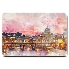 City Buildings Bridge Water River Large Doormat  by Pakrebo