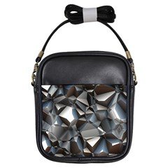 Triangles Polygon Color Silver Uni Girls Sling Bag by Pakrebo