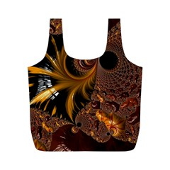 Fractal Brown Golden Intensive Full Print Recycle Bag (m) by Pakrebo