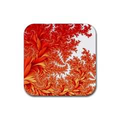 Flora Flowers Background Leaf Rubber Square Coaster (4 Pack)  by Pakrebo
