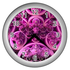 Fractal Math Geometry Visualization Pink Wall Clock (silver)
