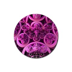 Fractal Math Geometry Visualization Pink Rubber Coaster (round)