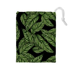 Leaves Pattern Tropical Green Drawstring Pouch (large)