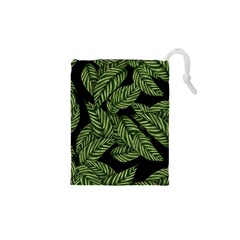 Leaves Pattern Tropical Green Drawstring Pouch (xs)
