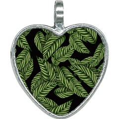 Leaves Pattern Tropical Green Heart Necklace