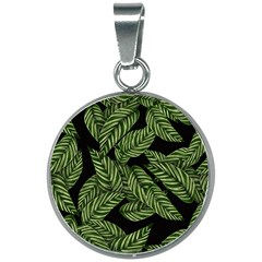 Leaves Pattern Tropical Green 20mm Round Necklace