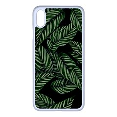 Leaves Pattern Tropical Green Iphone Xs Max Seamless Case (white)