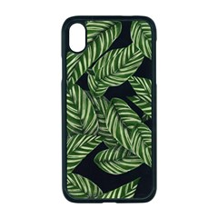 Leaves Pattern Tropical Green Iphone Xr Seamless Case (black)