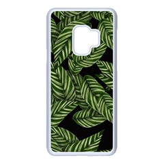 Leaves Pattern Tropical Green Samsung Galaxy S9 Seamless Case(white)