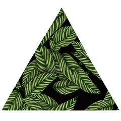 Leaves Pattern Tropical Green Wooden Puzzle Triangle