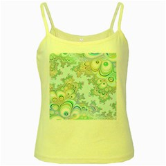 Pattern Background Floral Fractal Yellow Spaghetti Tank
