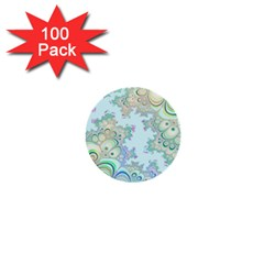 Pattern Background Floral Fractal 1  Mini Buttons (100 Pack)
