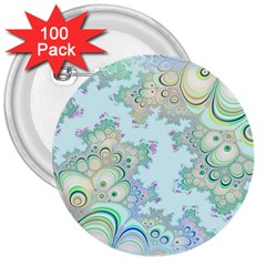 Pattern Background Floral Fractal 3  Buttons (100 Pack)