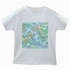 Pattern Background Floral Fractal Kids White T Shirts