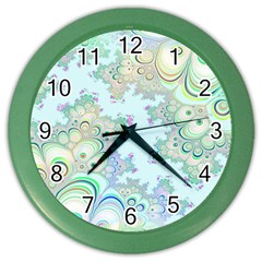 Pattern Background Floral Fractal Color Wall Clock