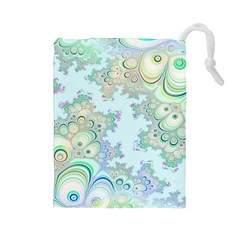 Pattern Background Floral Fractal Drawstring Pouch (large)