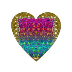 Signs Of Peace  In A Amazing Floral Gold Landscape Heart Magnet by pepitasart
