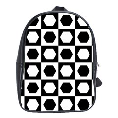 Chessboard Hexagons Squares School Bag (large)