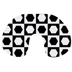 Chessboard Hexagons Squares Travel Neck Pillow by Alisyart