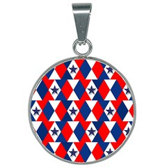Patriotic Stars 25mm Round Necklace