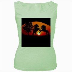 Sunset Horses Shadow Women s Green Tank Top