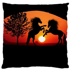 Sunset Horses Shadow Standard Flano Cushion Case (two Sides)