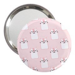 Pattern Pink Cute Sweet Fur Cats 3  Handbag Mirrors by Pakrebo
