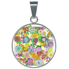 Illustration Pattern Abstract 25mm Round Necklace by Pakrebo