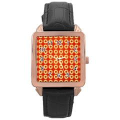 Wallpaper Illustration Pattern Rose Gold Leather Watch