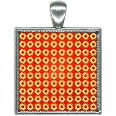 Wallpaper Illustration Pattern Square Necklace