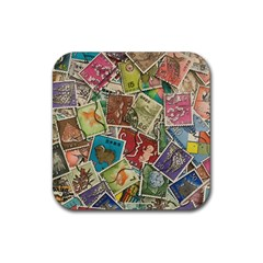 Old Vintage Japanese Mix Stamp Rubber Coaster (square)  by Pakrebo