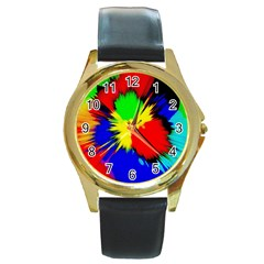 Color Halftone Grid Raster Image Round Gold Metal Watch