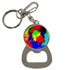 Color Halftone Grid Raster Image Bottle Opener Key Chain